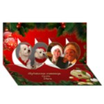 Merry Christmas Heart 3D Card - Twin Hearts 3D Greeting Card (8x4)