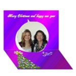 Purple varigated 3 D Christmas card - Circle 3D Greeting Card (7x5)