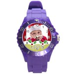 merry christmas, happy new year, xmas - Round Plastic Sport Watch (L)