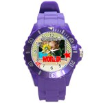 kids, love, family, happy, play, fun - Round Plastic Sport Watch (L)