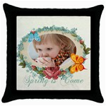 easter, spring, kids, flower - Throw Pillow Case (Black)