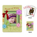 flower , kids, happy, fun, green - Playing Cards Single Design