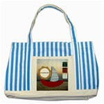 Summer Striped Blue Tote Bag