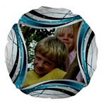 Blue and silver 18  Premium Round Cushion - Large 18  Premium Round Cushion