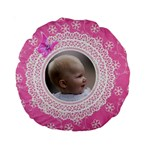Girl Pink lace 15  Premium Round Cushion - Standard 15  Premium Round Cushion