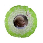 Girl Green lace 15  Premium Round Cushion - Standard 15  Premium Round Cushion