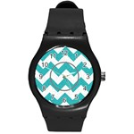 Gray/Turquoise Chevron sport watch - Round Plastic Sport Watch (M)