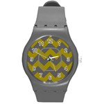 Gray/Yellow Chevron sport watch - Round Plastic Sport Watch (M)