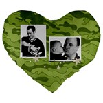 Camouflage-Camo-Military-Hunting- heart cushion - Large 19  Premium Heart Shape Cushion
