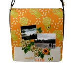 Flap Closure Messenger Bag (L)- Life is Beautiful