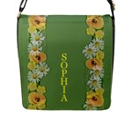 Yellow Poppy Flap Closure Messenger Bag (Large) - Flap Closure Messenger Bag (L)