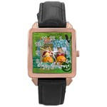 helloween - Rose Gold Leather Watch