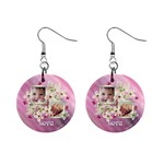 Pink love baby floral button earrings - 1  Button Earrings