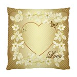 Gold floral heart Cushion case one side - Standard Cushion Case (One Side)