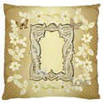 Gold Floral lace frame Large Cushion Case - Large Cushion Case (One Side)