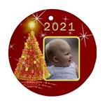Christmas Tree Round Ornament (2 sided) - Round Ornament (Two Sides)