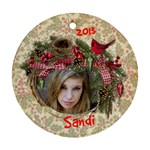 Round Ornament Bird Nest Ribbon - Ornament (Round)