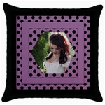 Purple and spottyThrow Pillow Casse - Throw Pillow Case (Black)