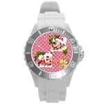 merry christmas - Round Plastic Sport Watch (L)