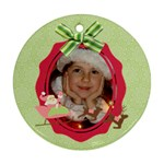 Pink Santa Reindeer Candycane Round ornament (2 sides) - Round Ornament (Two Sides)