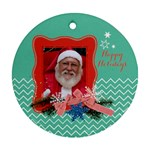 Chevron Christmas- Teal & Red, Round ornament (2 sides) - Round Ornament (Two Sides)