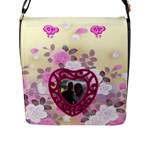 Love Flower Flap Closure Messenger Bag #5 - Flap Closure Messenger Bag (L)