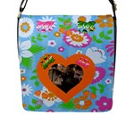 Love Flower Flap Closure Messenger Bag #6 - Flap Closure Messenger Bag (L)