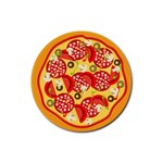 pizza - Rubber Coaster (Round)