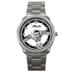 boys toys driver trucker car steering wheel silver wheels photo watch - Sport Metal Watch