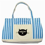 Meow cat - Striped Blue Tote Bag
