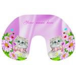 Pink flowers and Kitten Travek Neck Pillow - Travel Neck Pillow