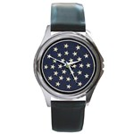 Navy Stars - Round Metal Watch