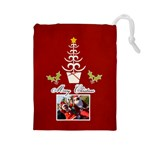 Drawstring Pouch: (L) Merry Christmas - Drawstring Pouch (Large)