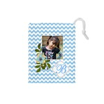 Drawstring Pouch (S) : Chevron Blue - Drawstring Pouch (Small)