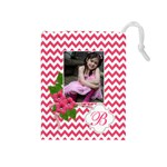 Drawstring Pouch (M): Chevron Pink - Drawstring Pouch (Medium)
