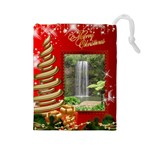 Merry Christmas Drawstring Pouch (large)
