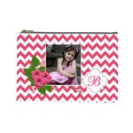 Cosmetic Bag (L): Pink Chevron - Cosmetic Bag (Large)