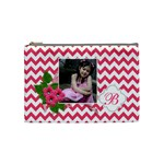 Cosmetic Bag (M):  Pink Chevron - Cosmetic Bag (Medium)