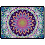 Neon Fractal Mandala - Double Sided Fleece Blanket (Large)
