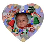 Baby s First Christmas Heart Ornament Two Sides - Heart Ornament (Two Sides)