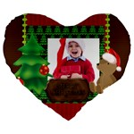 xmas - Large 19  Premium Flano Heart Shape Cushion