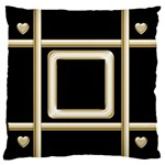 Black and Gold 2 Large Flano Cushion Case - Large Flano Cushion Case (Two Sides)