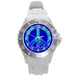 peace sports watch - Round Plastic Sport Watch (L)