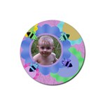 Bees and Flowers 4 Round Rubber Coaster - Rubber Round Coaster (4 pack)