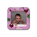 Ladybug-Hearts Rubber Square Coaster 4 Pack - Rubber Square Coaster (4 pack)