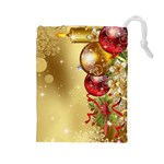 Christmas - Gold - Drawstring Pouch (Large)
