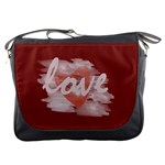 Romantic Watercolor Heart Love Red - Messenger Bag