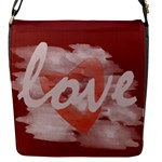 Cute Red Watercolor Heart Red - Flap Closure Messenger Bag (S)