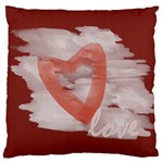 Bright Red Romantic Watercolor Love Canvas cushion case - Large Flano Cushion Case (One Side)