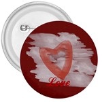 Bright Red Watercolor Heart Love - 3  Button